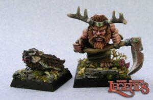 Reaper Miniatures Dwarf Druid and Badger 03216 (metal)