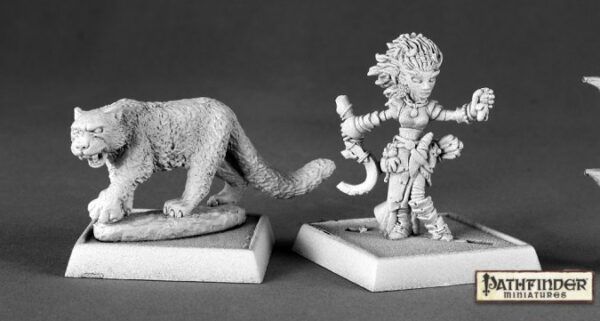 Reaper Miniatures Lini Iconic Gnome Druid and Droogami Snow Leopard 60020 (metal)