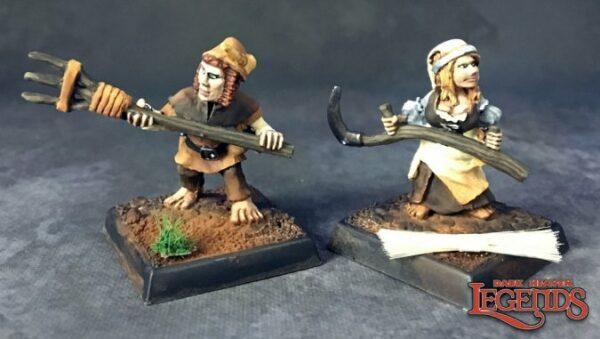 Reaper Miniatures Halfling Farmers (2) (Metal) 03729